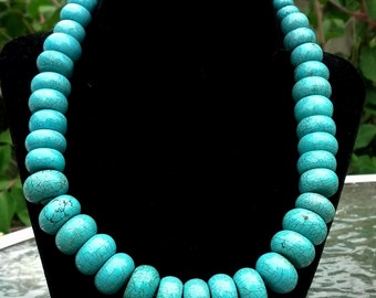 Brown-Veined Turquoise  Flat Rondelle Beads - 16 inch strand