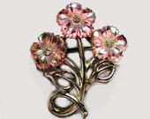 Pink Flower Pin Glass Flowers Bouquet Brooch - MorningGlorious