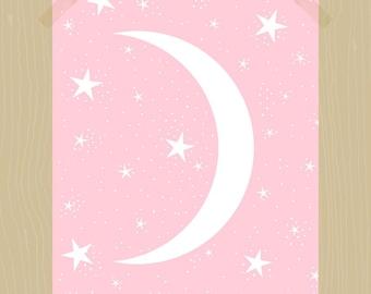 Printable Moon and Stars Print 11 x 14 Nursery Print Night Sky Print Nursery Art Star Print Baby Girl Print Blush Pink Kids Bedroom Print