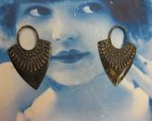 Hand Aged Oxidized Patina Brass Ornamental Drop 501HOX  x2