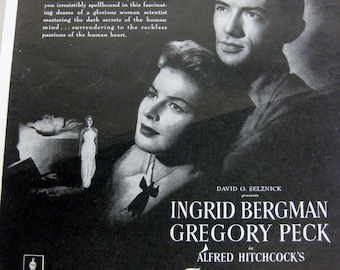Vintage Movie Life Magazine Advertisment  Ingrid Bergman and Gregory Peck In Spellbound