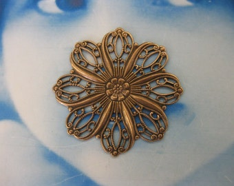 Copper Ox Plated Floral 35mm Filigree  870COP  x2