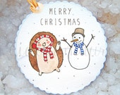 10 Christmas Gift Tags - Printed on Recycled Paper - Illustration by Giulia Mauri