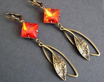 Vintage Hyacinth  Crystal and Antiqued Brass Leaf Earrings.