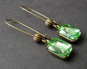 Vintage Peridot Faceted Crystal in Antiqued Brass Prong Setting Earrings.