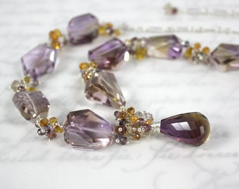 Ametrine Necklace with Sapphires and Spinel in Solid Sterling Silver