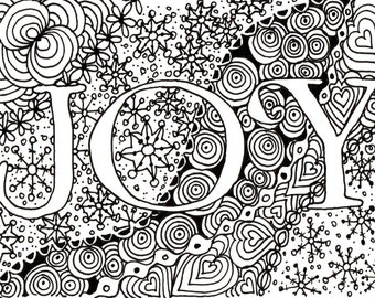 Printable DIY Zendoodle JOY Card 5x7 Pdf From Kauai Hawaii Mele Kalikimaka Christmas Doodle Black White