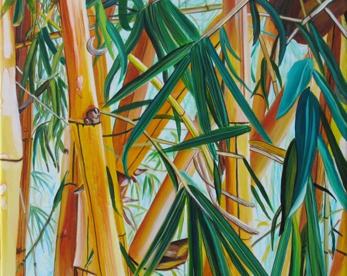Yellow Bamboo print 8x10 from Kauai Hawaii green blue yellow
