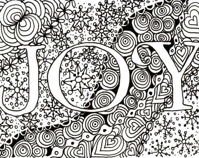Printable DIY Zendoodle JOY card 5x7 pdf from Kauai Hawaii Mele Kalikimaka Christmas doodle black white zentangle inspired art