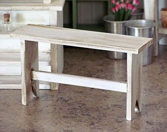 1:6 Scale Miniature WOODEN Bench -  WHITE Cottage Shabby Chic Real Wood Furniture for Fashion Dolls and Action Figures