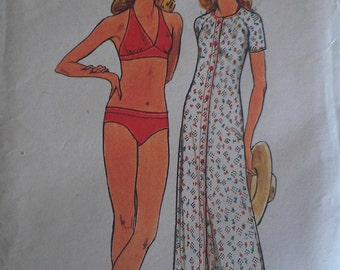 Vintage 70s Classic Halter Top Bikini Swimsuit Swim Bathing Suit Beech Coverup Sewing Pattern B38