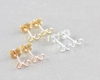 Infinity Earring Set, Infinity Studs, Gold Infinity, Silver Infinity, Rose Gold Earrings