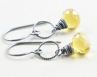 Yellow Quartz Dangle Earrings, Whiskey Quartz Drop Earrings, Fall Earrings