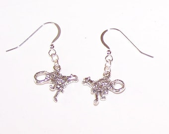 Sterling Silver 3D CHEETAH CAT Earrings - Wildlife, Totem