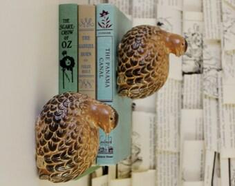 VINTAGE pair of ceramic quails