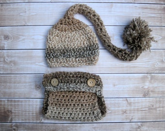 Crochet Baby Stocking Hat and Diaper Cover Set, Newborn Clothes, Infant Boy Outfit, Baby Elf Set, Newborn Photography Outfit, Browns