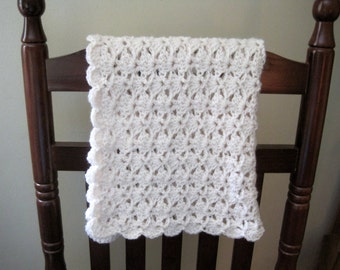 Crochet Baby Blanket, Newborn Baby Blanket, Baby Shower Gift, Baby Gift, Crochet Baby Afghan, Baby Stroller Blanket, Ivory, Nursery Blanket