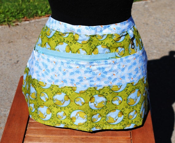 Handmade Vendor Apron Zipper Go Green Farmers Market Teacher Craft Server Gardener Cash Pockets Blue Green
