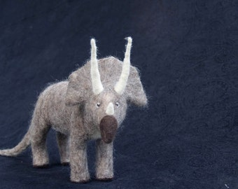 Triceratops- Needle Felted Wool Sculpture
