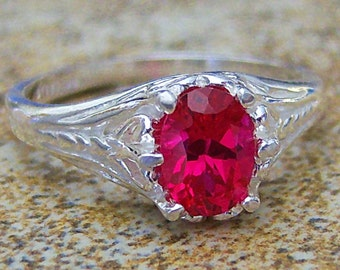 Lab Ruby Filigree Sterling Silver Ring, Cavalier Creations