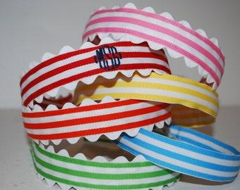 Embroidered Monogram Headband Small Stripe Ribbon Boutique Preppy Ric Rac