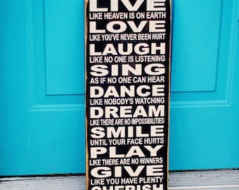 Inspiring Words Subway Art Sign (primitive looking)black with cream vinyl lettering pine wood
