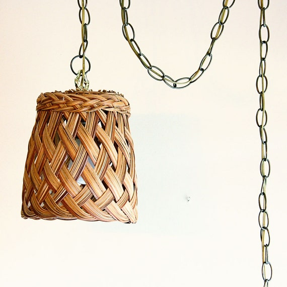 Vintage Hanging Light Hanging Lamp Wicker By OldCottonwood