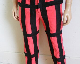 "Hermans Hemp Pants Steampunk 32"" by 32"" black hemp straps red hemp"