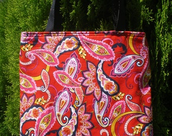 Paisley on Red Tote Bag Flower Floral Yellow Black Orange Retro Handmade Purse