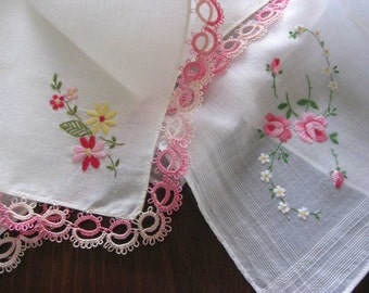 Vintage Hanky Hankies Pretty in Pink - Tatting Floral Roses Embroidery - Lot of Two