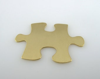 """Sale - Brass Stamping Blank Puzzle Personalized Jewelry  1 1/4"""" x 7/8"""" 24 Gauge Qty. 6"""