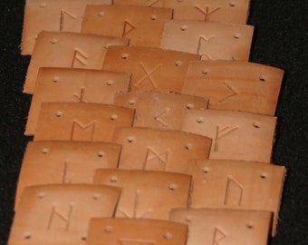 Leather Card Weaving Cards - Runic Hand Stamped 1 3/4 inches square - 15 Cards