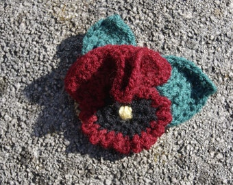 Red Pansy Brooch