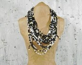 50% OFF SALE Black Grey Yellow White T Shirt Layered Knotted Necklace