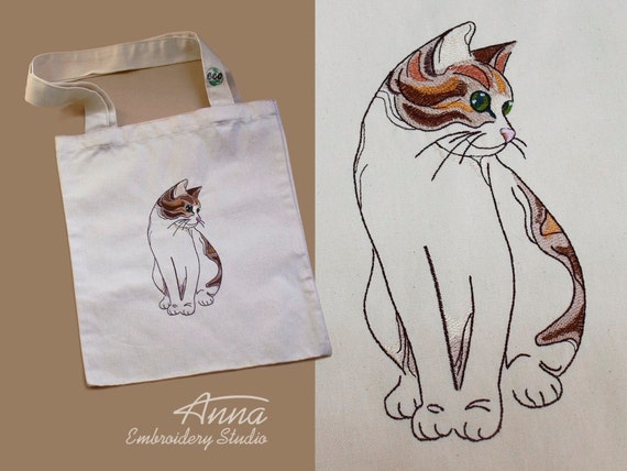 Cat Tote Bag Embroidered bag Christmas gift Canvas Tote