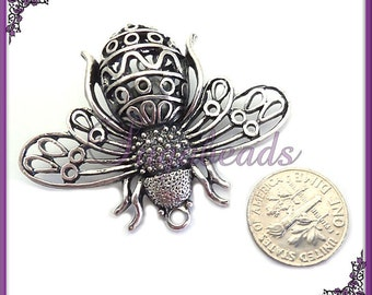 Large Antiqued Silver Filigree Bee Pendant 40mm x 52mm PS130
