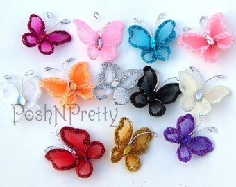 Set of 10 - Glitter MINI one inch butterfly applique with wings- pick Colors