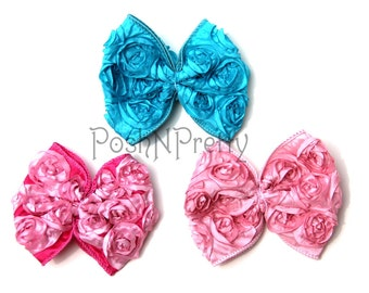 Set of 5 Raised Rosette Taffeta bows Unfinished - 4 inches- Pick Colors