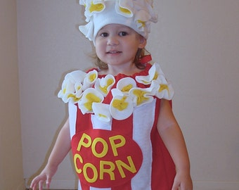 Kids Costume Popcorn Box Halloween Costume Photo Prop Toddler Childrens Food Dress Up