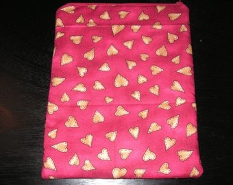 Hearts Valentine handmade zipper fabric iPad 2 3 4 Xoom Galaxy Acer case sleeve cover pouch tablet