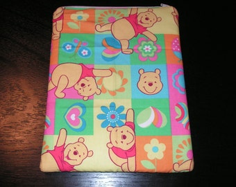 Winnie the Pooh handmade zipper fabric iPad 2 3 4 Xoom Galaxy Acer case sleeve cover pouch tablet