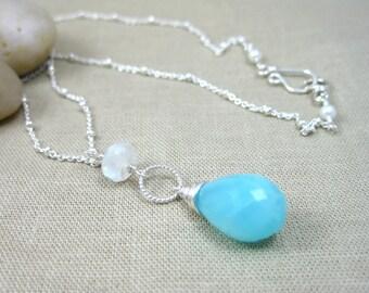 Peruvian Blue Opal Long Necklace Blue Stone Necklace Sterling Silver Moonstone Long Drop Necklace Minimalist Jewelry - Island Breeze