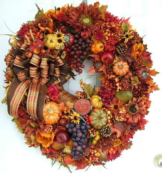 Fall door wreath floral wreath fall wreath front door wreath