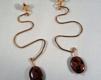 Goldstone, Dangle, Gold Filled, Snake Earrings(LVE63)