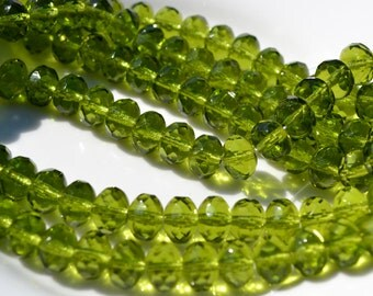 Olive Green 9x6mm Czech GLass Faceted Rondelles  25
