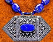 Vintage Turkmen Hexagonal Silver & Lapis Necklace