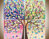 "large Square art holiday sale gift for her acrylic painting wall decor wall art home office canvas art ""Tree of Life"" by qiqigallery"