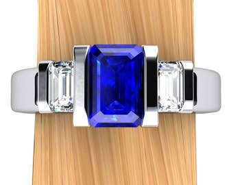 Sapphire Engagement Ring, Emerald Cut Blue Sapphire and Diamonds in Palladium or 14k Gold - Free Gift Wrapping
