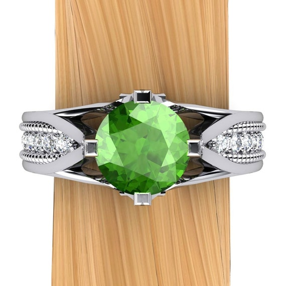 Tsavorite Garnet, Emerald Green Ring with Diamonds in Palladium - Free Gift Wrapping