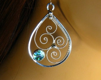 Sterling Silver Filigree Earrings with Natural Abalone Shell ,dangle ,statement, gift